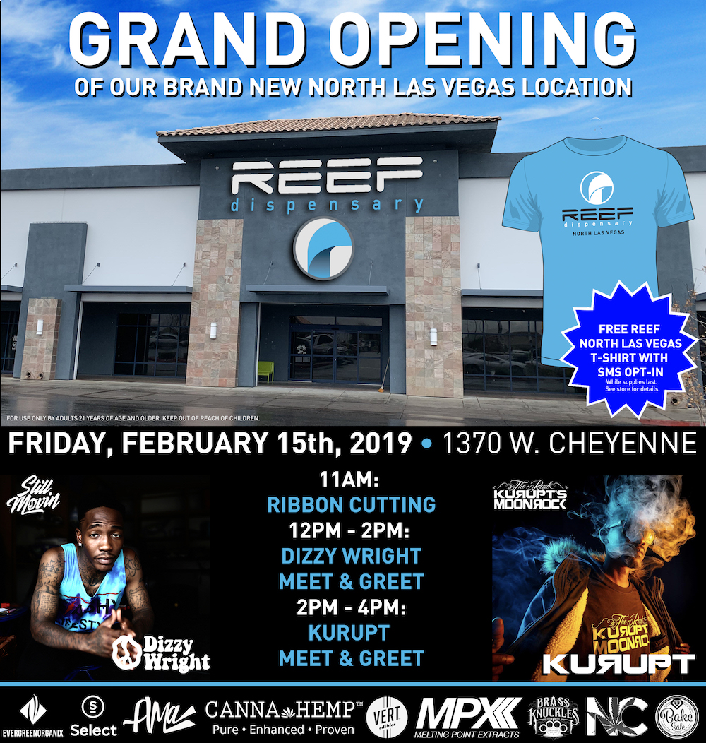 REEF DISPENSARY ANNOUNCES GRAND OPENING OF NEW NORTH LAS